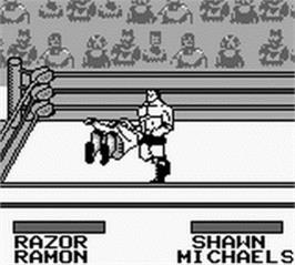 In game image of WWF King of the Ring on the Nintendo Game Boy.