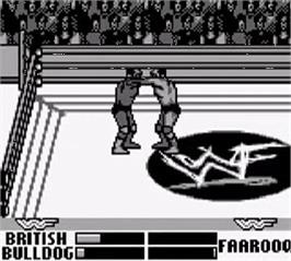 In game image of WWF War Zone on the Nintendo Game Boy.