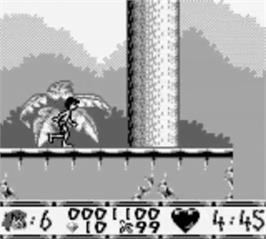 In game image of Walt Disney's The Jungle Book on the Nintendo Game Boy.