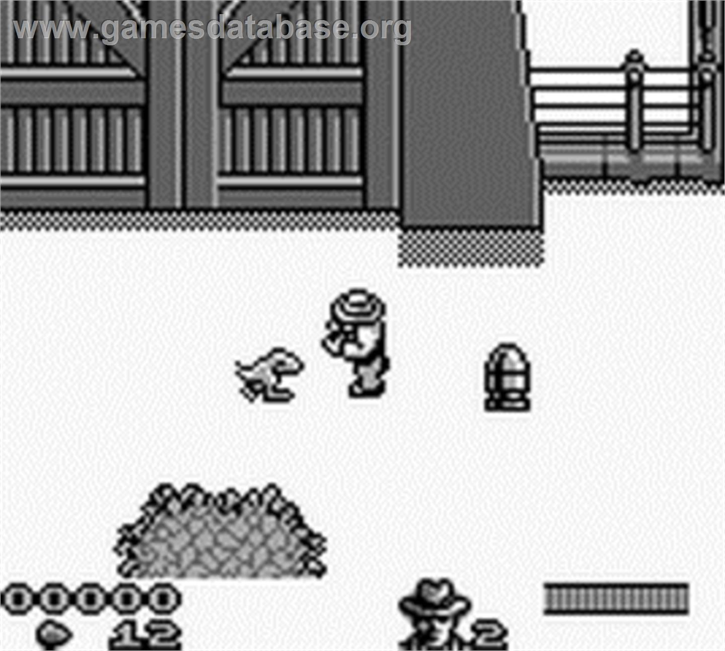 In game image of Jurassic Park on the Nintendo Game Boy.