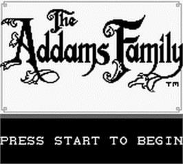 Title screen of Addams Family, The on the Nintendo Game Boy.