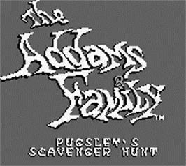 Title screen of Addams Family: Pugsley's Scavenger Hunt on the Nintendo Game Boy.