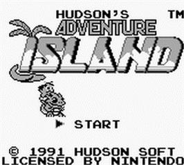 Title screen of Adventure Island on the Nintendo Game Boy.