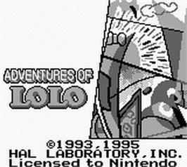 Title screen of Adventures of Lolo, The on the Nintendo Game Boy.