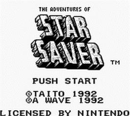 Title screen of Adventures of Star Saver on the Nintendo Game Boy.