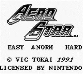 Title screen of Aerostar on the Nintendo Game Boy.