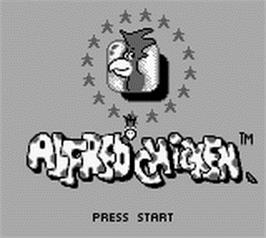 Title screen of Alfred Chicken on the Nintendo Game Boy.