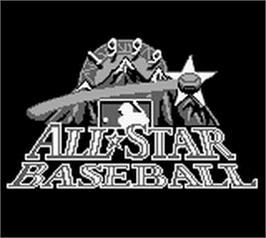 Title screen of All-Star Baseball '99 on the Nintendo Game Boy.