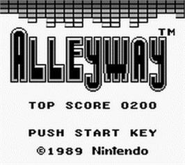 Title screen of Alleyway on the Nintendo Game Boy.