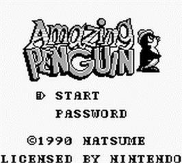 Title screen of Amazing Penguin on the Nintendo Game Boy.