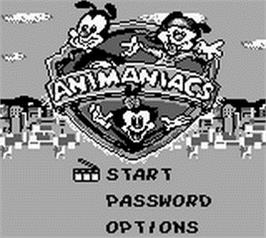 Title screen of Animaniacs on the Nintendo Game Boy.
