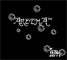 Title screen of Aretha on the Nintendo Game Boy.