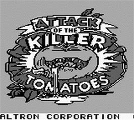 Title screen of Attack of the Killer Tomatoes on the Nintendo Game Boy.