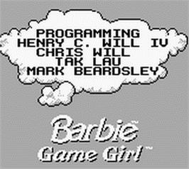 Title screen of Barbie Game Girl on the Nintendo Game Boy.