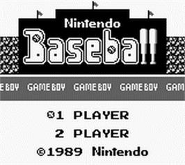 Title screen of Baseball on the Nintendo Game Boy.