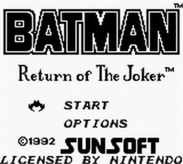 Title screen of Batman: Return of the Joker on the Nintendo Game Boy.