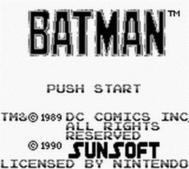 Title screen of Batman: The Video Game on the Nintendo Game Boy.