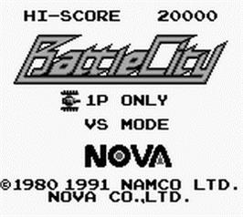 Title screen of Battle City on the Nintendo Game Boy.