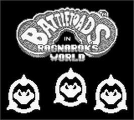 Title screen of Battle Toads in Ragnarok's World on the Nintendo Game Boy.
