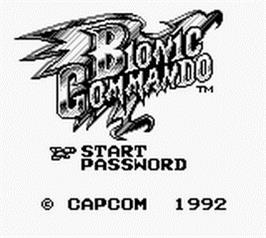 Title screen of Bionic Commando on the Nintendo Game Boy.