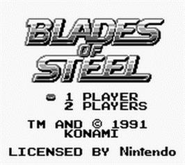Title screen of Blades of Steel on the Nintendo Game Boy.