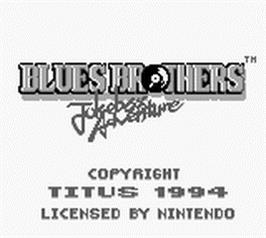 Title screen of Blues Brothers: Jukebox Adventure on the Nintendo Game Boy.
