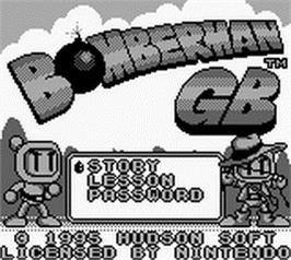 Title screen of Bomberman GB on the Nintendo Game Boy.