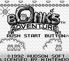 Title screen of Bonk's Adventure on the Nintendo Game Boy.