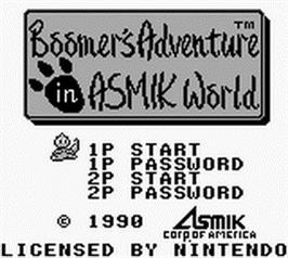 Title screen of Boomer's Adventure in ASMIK World on the Nintendo Game Boy.