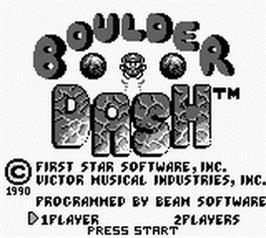 Title screen of Boulder Dash on the Nintendo Game Boy.