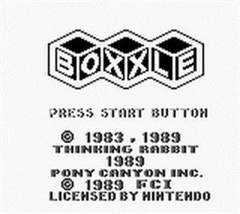 Title screen of Boxxle on the Nintendo Game Boy.