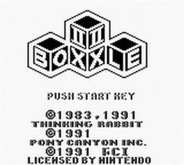 Title screen of Boxxle II on the Nintendo Game Boy.
