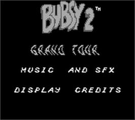 Title screen of Bubsy 2 on the Nintendo Game Boy.