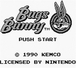 Title screen of Bugs Bunny: Crazy Castle on the Nintendo Game Boy.