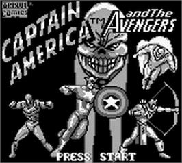 Title screen of Captain America and The Avengers on the Nintendo Game Boy.