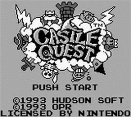 Title screen of Castle Quest on the Nintendo Game Boy.