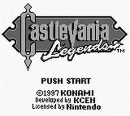 Title screen of Castlevania: Legends on the Nintendo Game Boy.