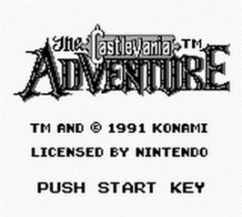 Title screen of Castlevania: The Adventure on the Nintendo Game Boy.