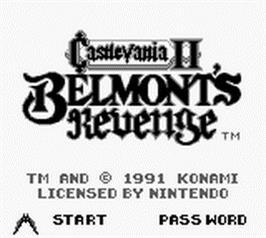 Title screen of Castlevania II: Belmont's Revenge on the Nintendo Game Boy.