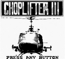 Title screen of Choplifter 3 on the Nintendo Game Boy.