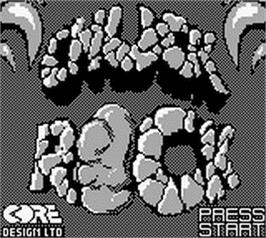 Title screen of Chuck Rock on the Nintendo Game Boy.