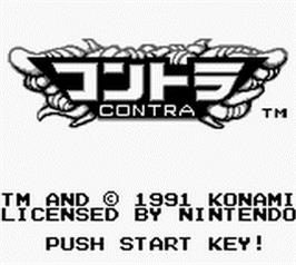 Title screen of Contra: The Alien Wars on the Nintendo Game Boy.