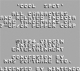 Title screen of Cool Spot on the Nintendo Game Boy.