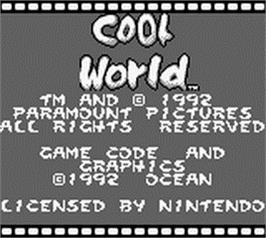 Title screen of Cool World on the Nintendo Game Boy.