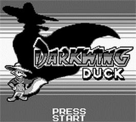 Title screen of Darkwing Duck on the Nintendo Game Boy.