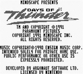Title screen of Days of Thunder on the Nintendo Game Boy.