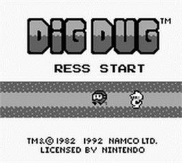 Title screen of Dig Dug on the Nintendo Game Boy.
