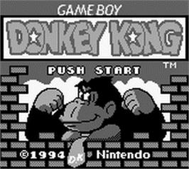 Title screen of Donkey Kong on the Nintendo Game Boy.