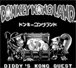 Title screen of Donkey Kong Land on the Nintendo Game Boy.