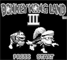 Title screen of Donkey Kong Land 3 on the Nintendo Game Boy.